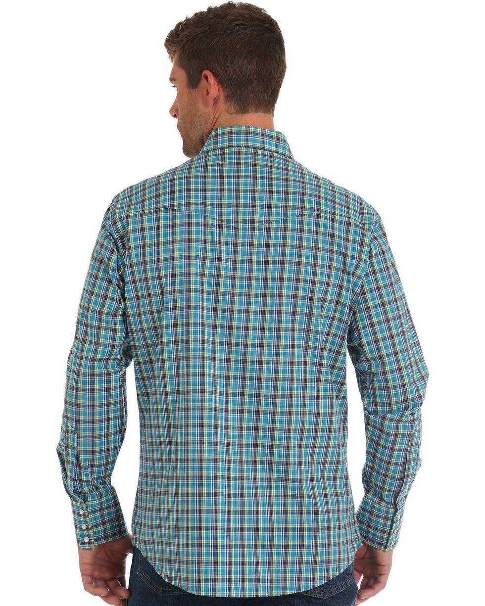 Wrangler Men's Turquoise Wrinkle Resistant Plaid Long Sleeve Western Shirt , Turquoise, hi-res