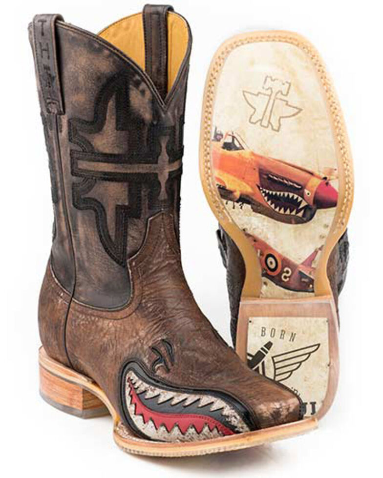 Tin Haul Men's Warhawk Western Boots - Wide Square Toe, Brown, hi-res