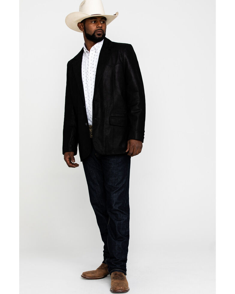 Cody James Men's Black Suede Blazer Jacket , Black, hi-res