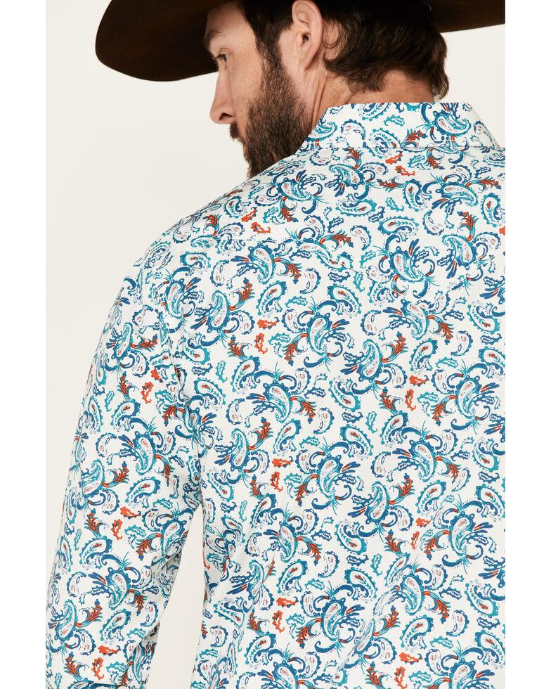 Cody James Men's City Lights Paisley Print Long Sleeve Snap Western Shirt , Ivory, hi-res