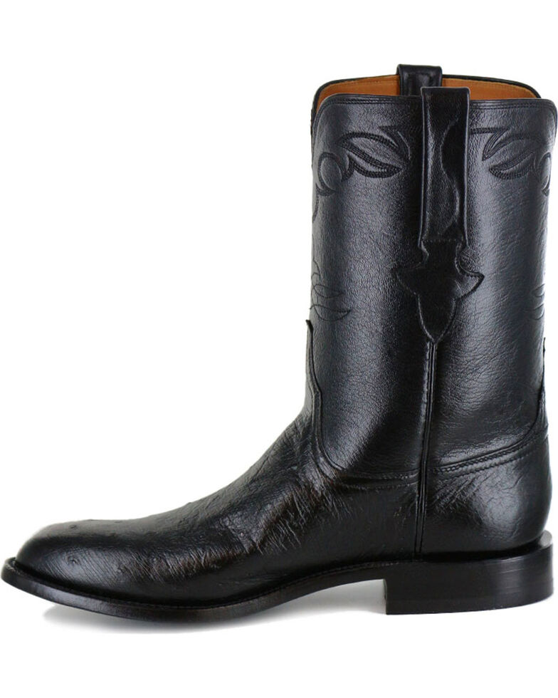 Lucchese Men's Ward Smooth Ostrich Roper Boots, Black, hi-res