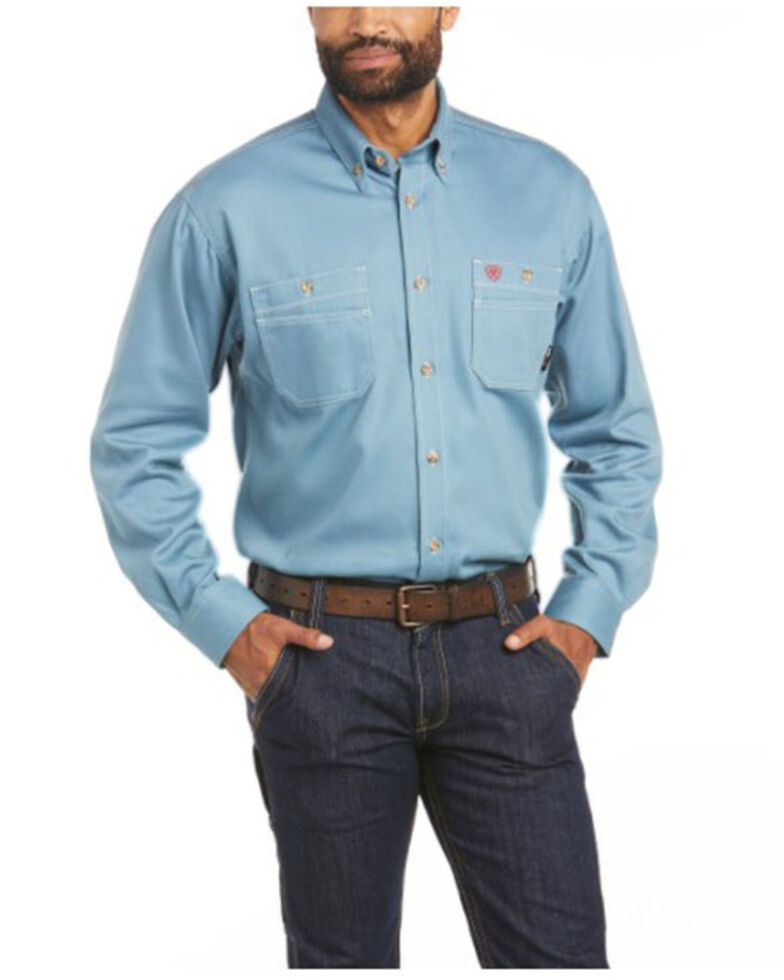 Ariat Men's FR Blue Solid Vented Long Sleeve Work Shirt - Big & Tall, Blue, hi-res