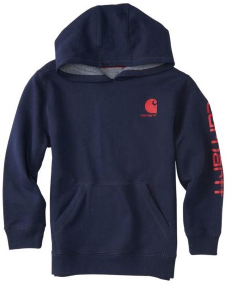 Carhartt Boys' Navy Logo Hooded Sweatshirt , Navy, hi-res
