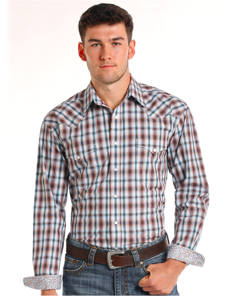 Rough Stock by Panhandle Men's Clarendon Vintage Ombre Plaid Long Sleeve Western Shirt, Teal, hi-res