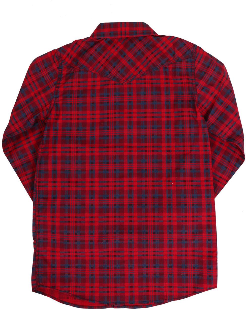 Cody James Boys' Tomahawk Plaid Long Sleeve Shirt, Red, hi-res