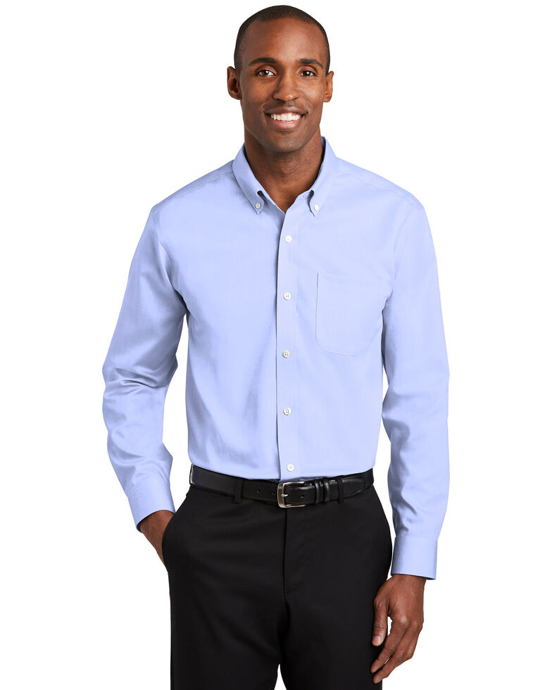 Red House Men's Blue Pinpoint Oxford Non-Iron Shirt , Blue, hi-res