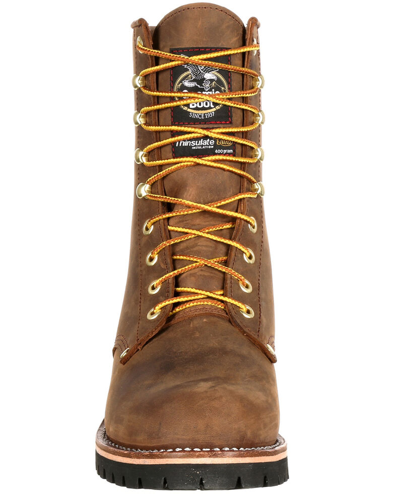 Georgia Boot Men's Waterproof Insulated Logger Work Boots - Steel Toe, Brown, hi-res