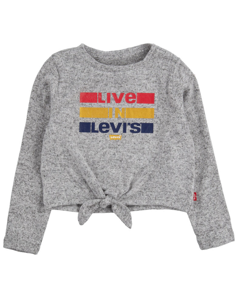 Levi's Toddler Girls' Live In Levi's Graphic Tie-Front Long Sleeve Top , Grey, hi-res