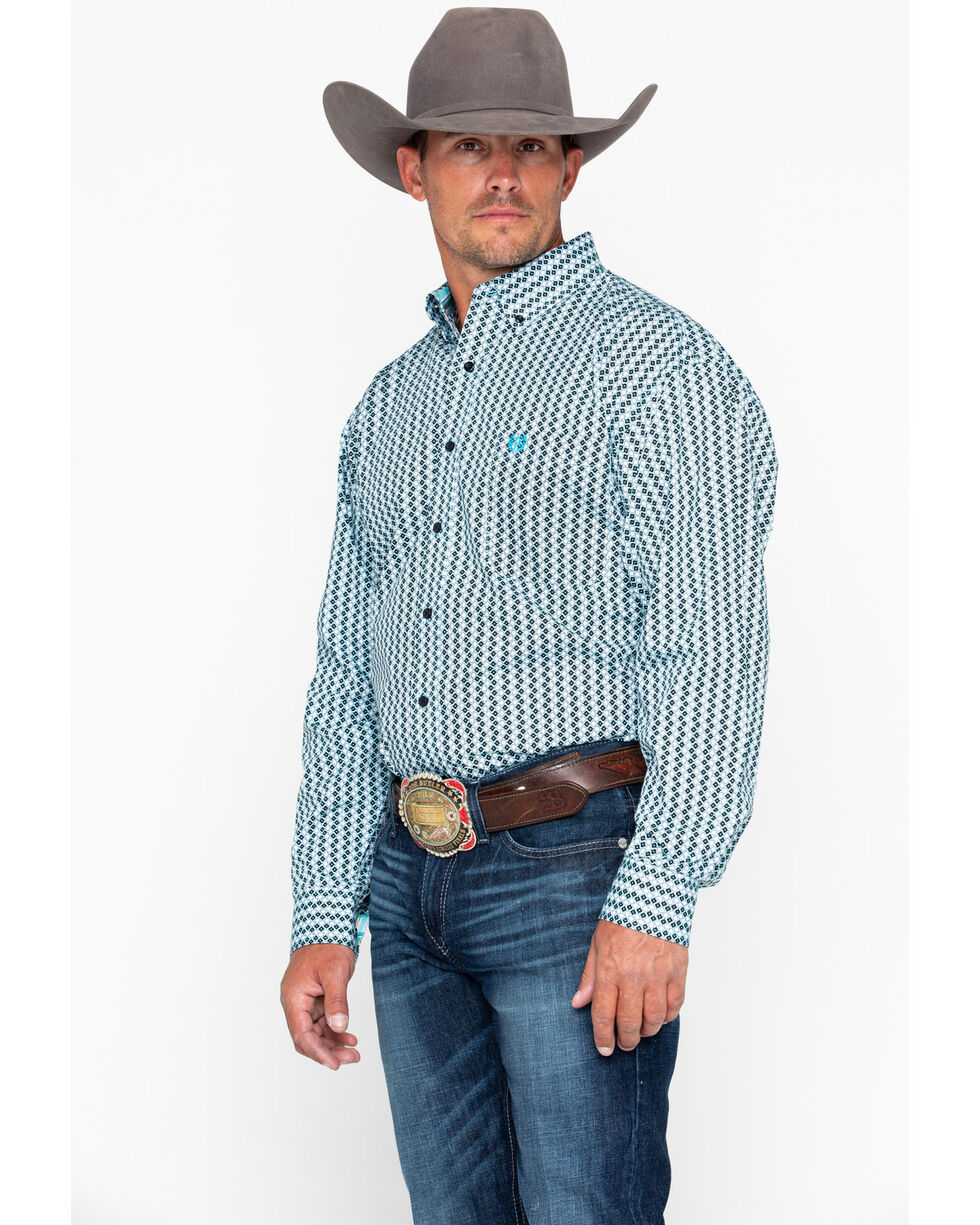 Panhandle Men's Peached Geo Print Long Sleeve Western Shirt , Navy, hi-res