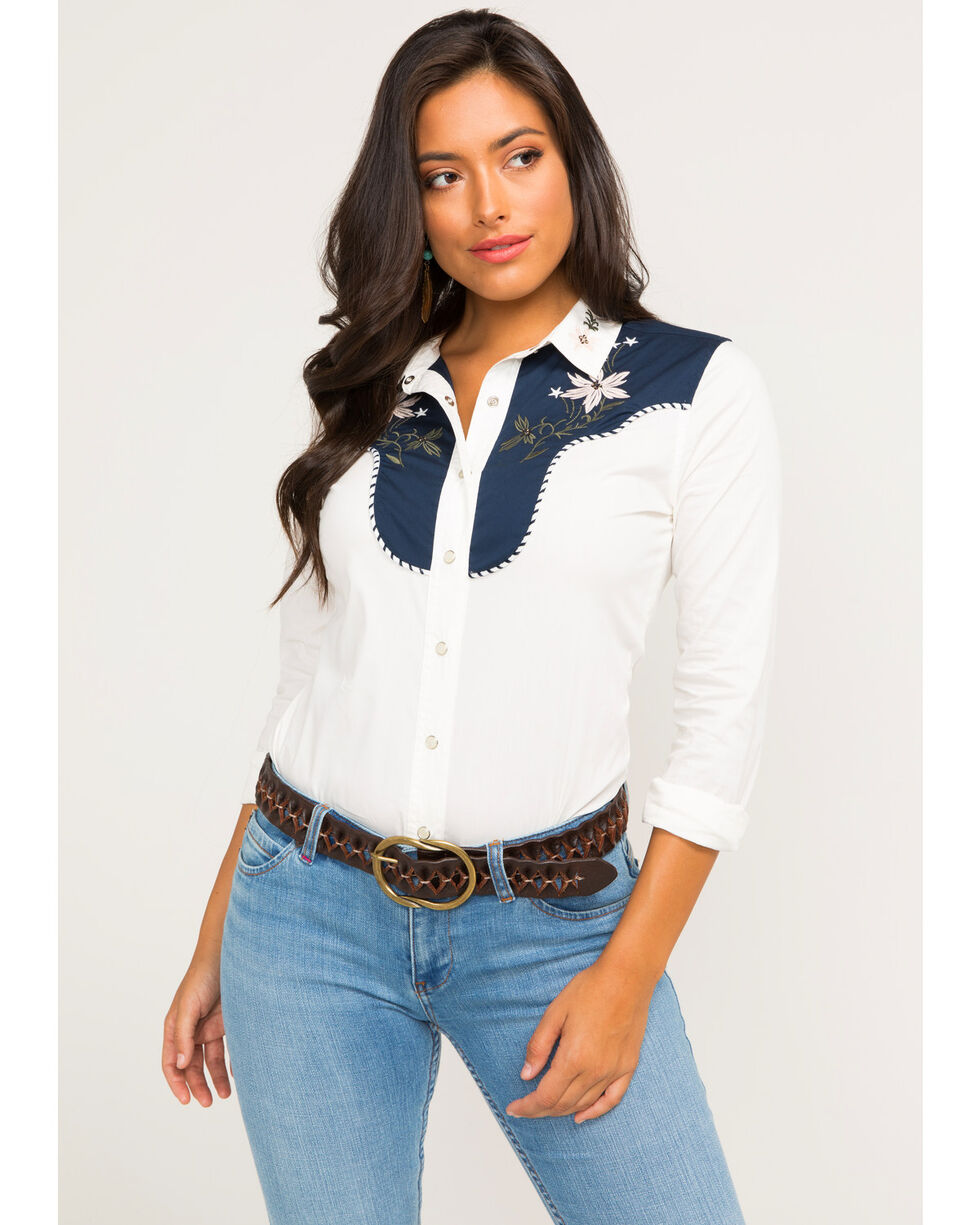Idyllwind Women's Montana Western Top, Ivory, hi-res