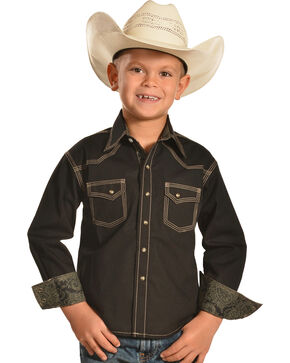 Cody James® Kid's Long Sleeve Print Pattern Western Shirt, Black, hi-res