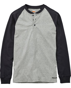 Timberland PRO Men's Heather Grey Cotton Core Raglan Henley, Heather Grey, hi-res