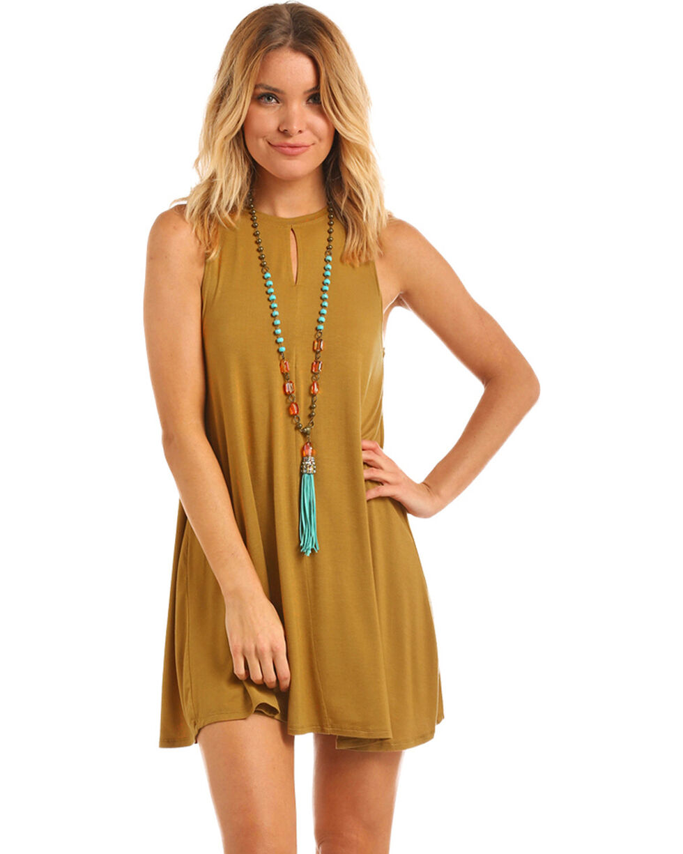 Panhandle Women's Gold Front Keyhole Knit Swing Dress, , hi-res