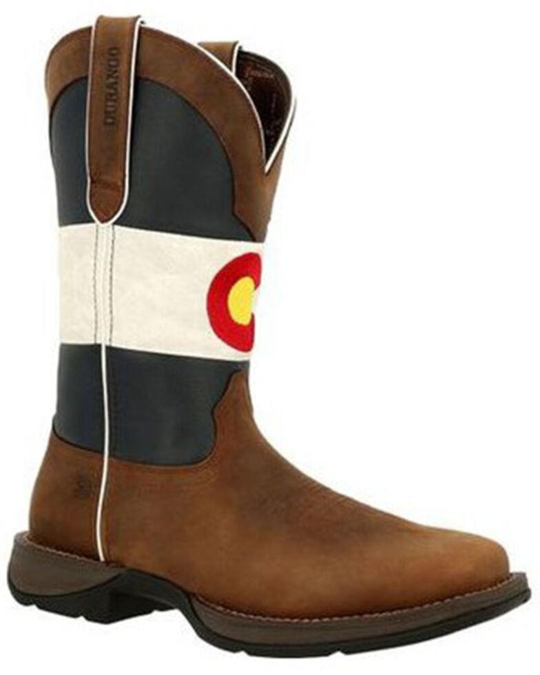 Durango Men's Colorado Flag Western Boots - Square Toe, Brown, hi-res