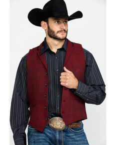 Scully RangeWear Men's Western Herringbone Wool Vest , Red, hi-res