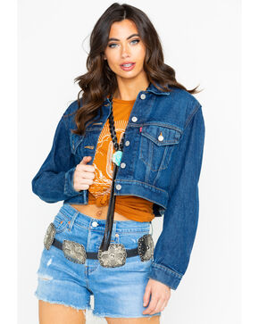 Levi's Women's Cropped Tucker Jean Jacket , Blue, hi-res