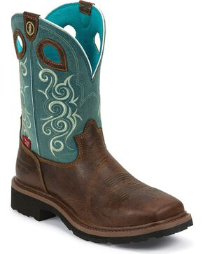 Tony Lama Women's Waterproof Comp Toe Work Boots, Brown, hi-res