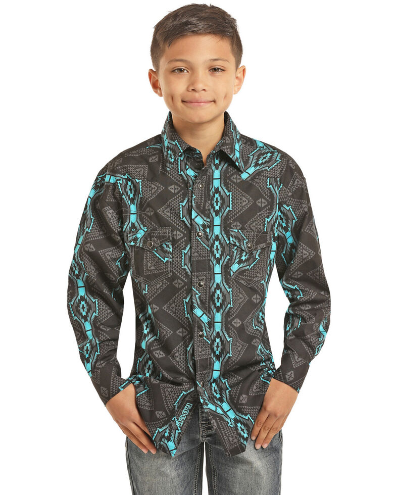 Rock & Roll Cowboy Boys' Vertical Aztec Print Long Sleeve Western Shirt , Black, hi-res