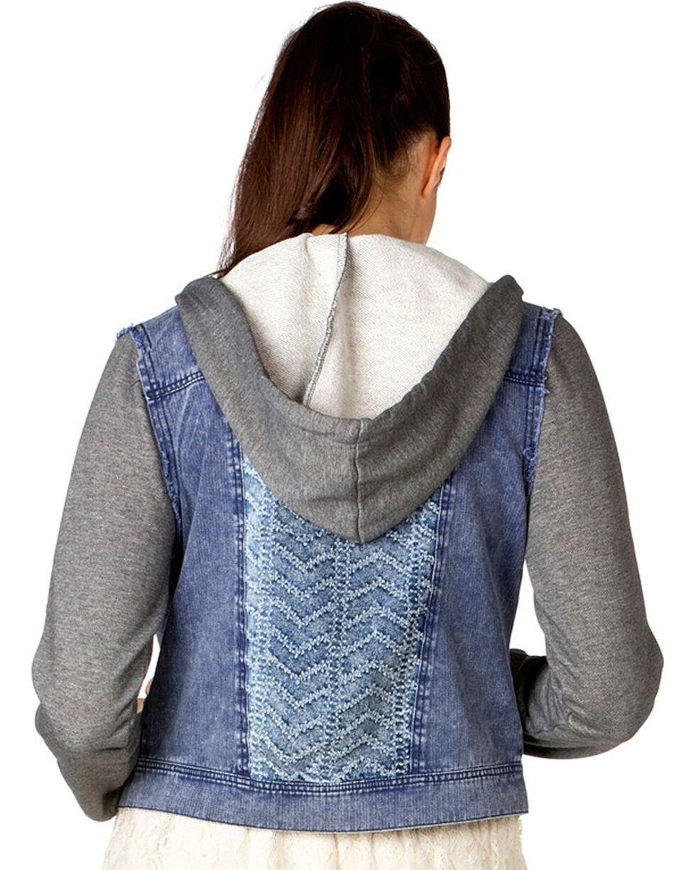 Miss Me Mixed Media Denim Hooded Jacket, Light Blue, hi-res