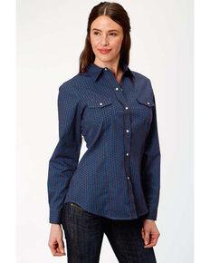 Amarillo Women's Cooper Creek Blue Geo Print Snap Long Sleeve Western Shirt, Blue, hi-res