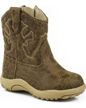 Roper Infant Boys' Distressed Cowboy Boots - Round Toe, Tan, hi-res