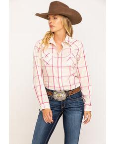 Wrangler Women's Tan Plaid Long Sleeve Western Shirt , Tan, hi-res