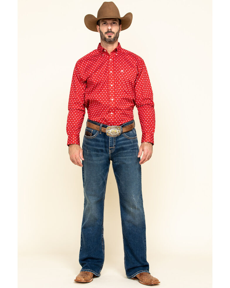 Ariat Men's Nelton Stretch Aztec Geo Print Long Sleeve Western Shirt - Tall , Red, hi-res