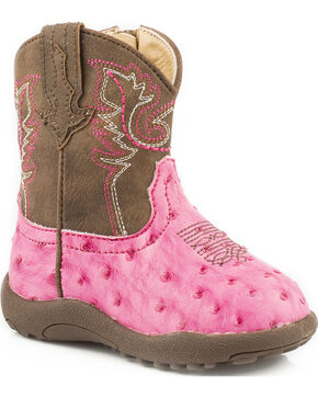 Roper Infant's Annabelle Faux Ostrich Western Boots, Pink, hi-res