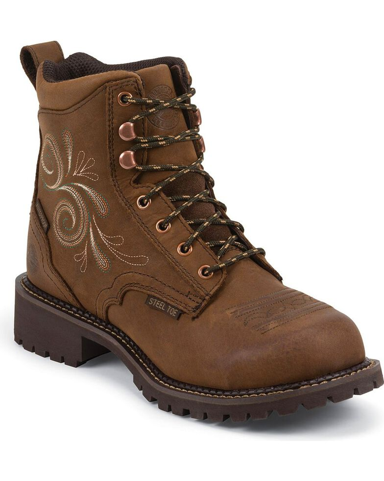 "Justin Women's 6"" Steel Toe Lace-Up Work Boots, Aged Bark, hi-res"