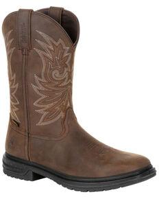 Rocky Men's Worksmart Waterproof Western Work Boots - Composite Toe, Brown, hi-res