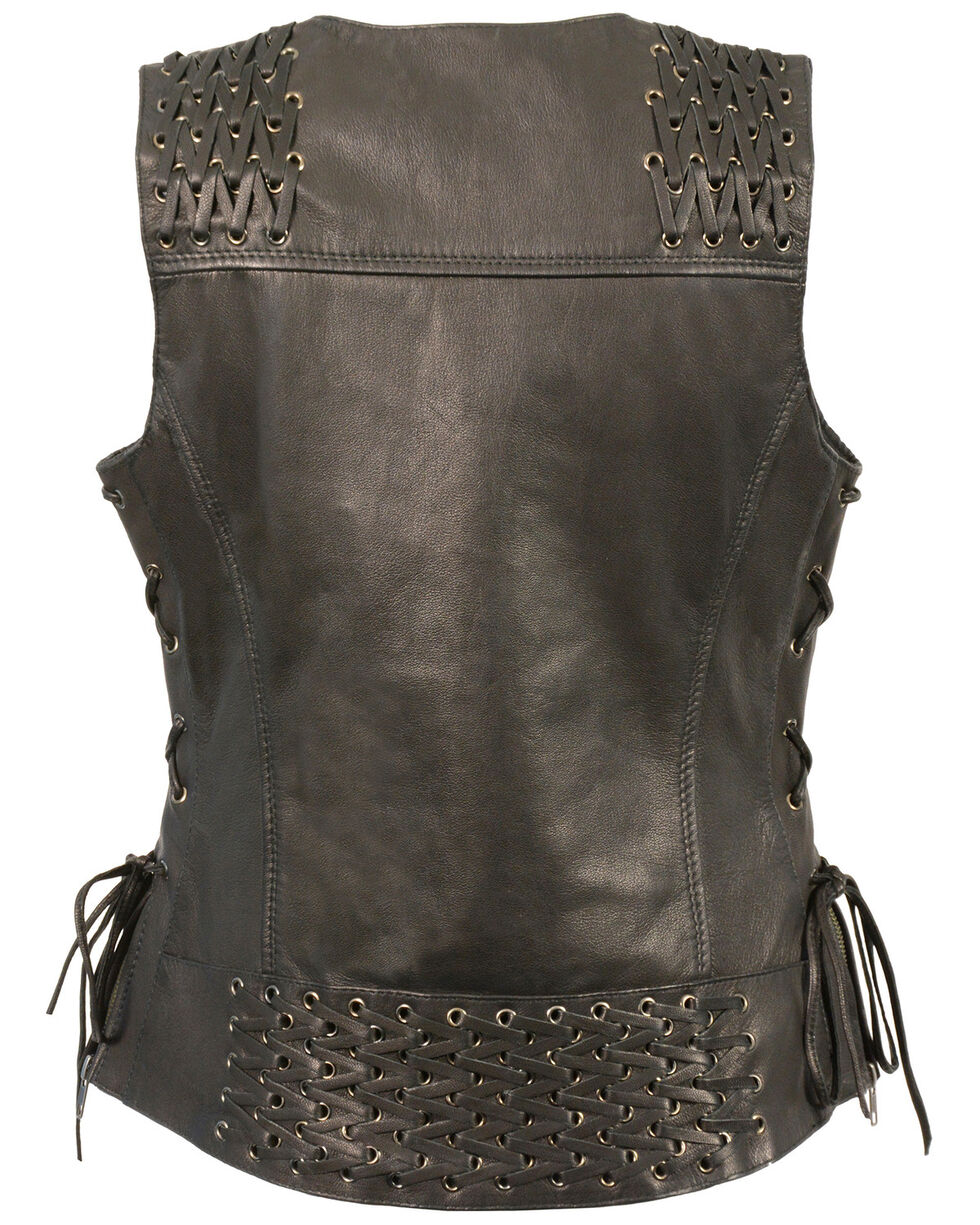 Milwaukee Leather Women's Lightweight Lace To Lace Snap Front Vest, Black, hi-res