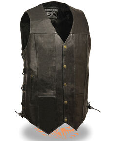 Milwaukee Leather Men's 3X 10 Pocket Side Lace Vest - Tall, Black, hi-res