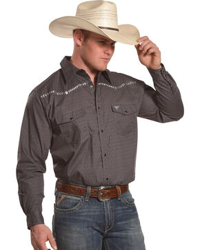Cowboy Hardware Men's Charcoal Diamond Print Long Sleeve Western Shirt, Charcoal, hi-res