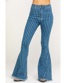 Show Me Your Mumu Women's Berkeley Fountain Stripe Flare Jeans, Blue, hi-res