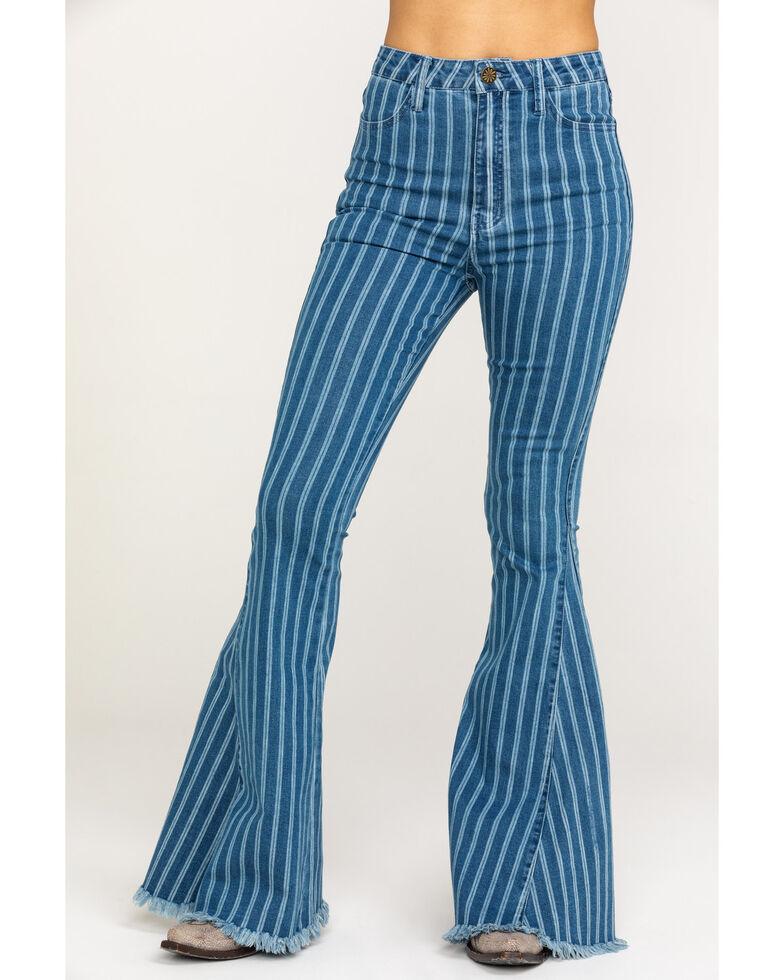 Show Me Your Mumu Women's Berkeley Fountain Stripe Flare Jeans, Blue, hi-res