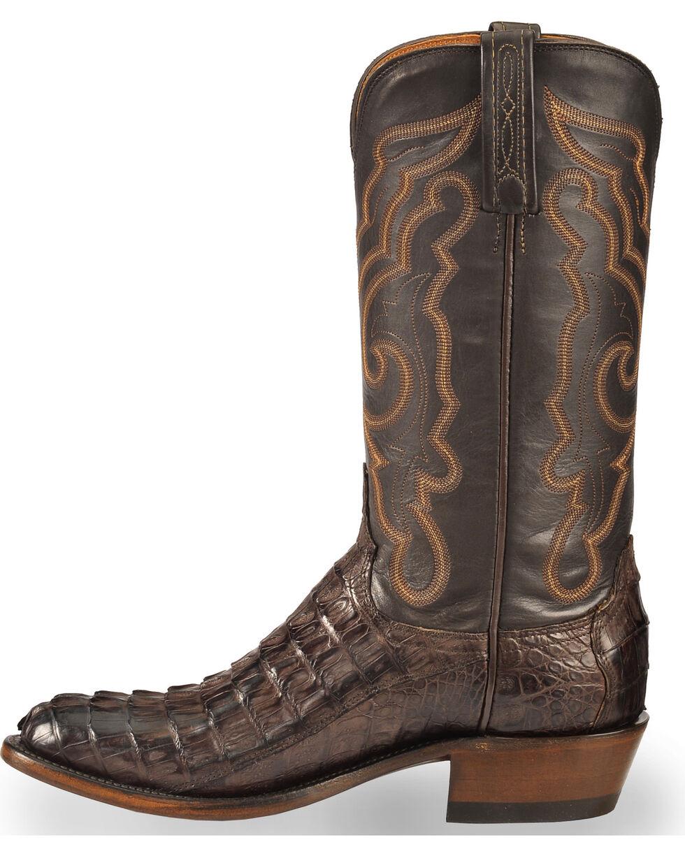 Lucchese Men's Handmade Dark Brown Franklin Hornback Caiman Tail Boots - Medium Toe , Dark Brown, hi-res
