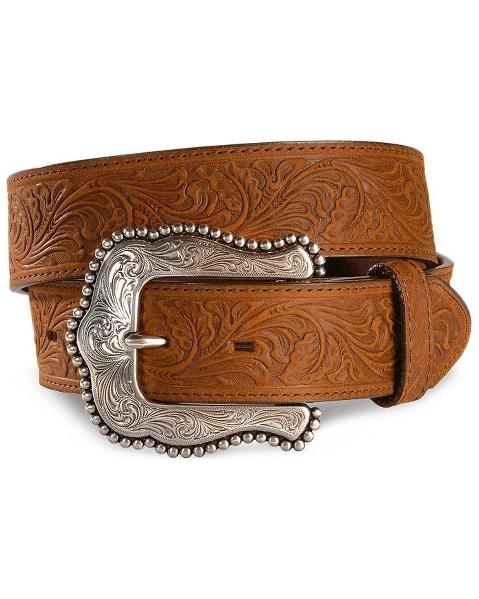 Tony Lama Women's Tooled Leather Layla Belt, Brown, hi-res