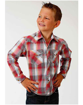 Roper Boy's Red Plaid Western Long Sleeve Shirt, Red, hi-res
