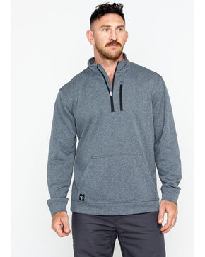 Hawx Men's Solid 1/4 Zip Work Pullover , Charcoal, hi-res