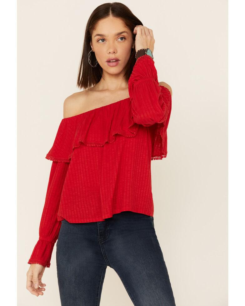 Wrangler Retro Women's Red Americana Off Shoulder Blouse Top , Red, hi-res