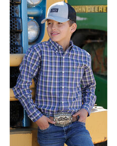 Cinch Boys' Purple Plaid Long Sleeve Western Shirt , Purple, hi-res