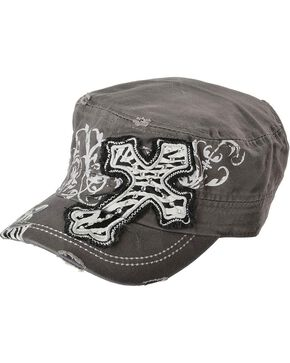 Embroidered Zebra Print Cross Casual Cap, Grey, hi-res