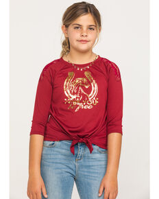 Shyanne Girls' Be You Graphic Long Sleeve Tee, Burgundy, hi-res