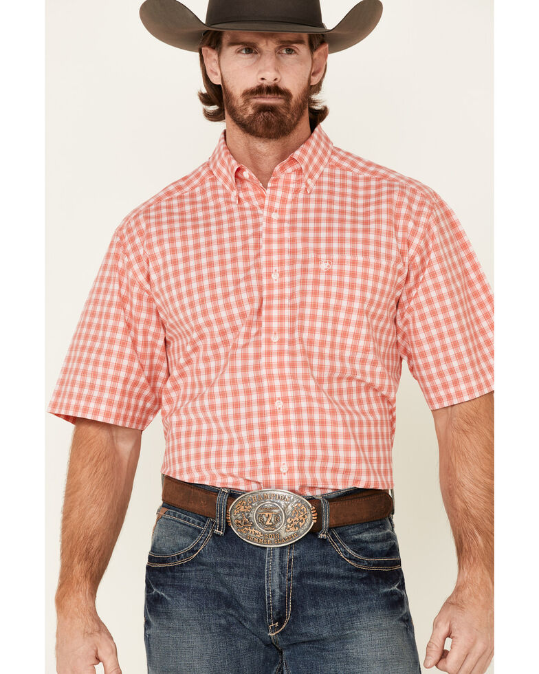 Ariat Men's Coral Felix Small Plaid Short Sleeve Western Shirt , Coral, hi-res