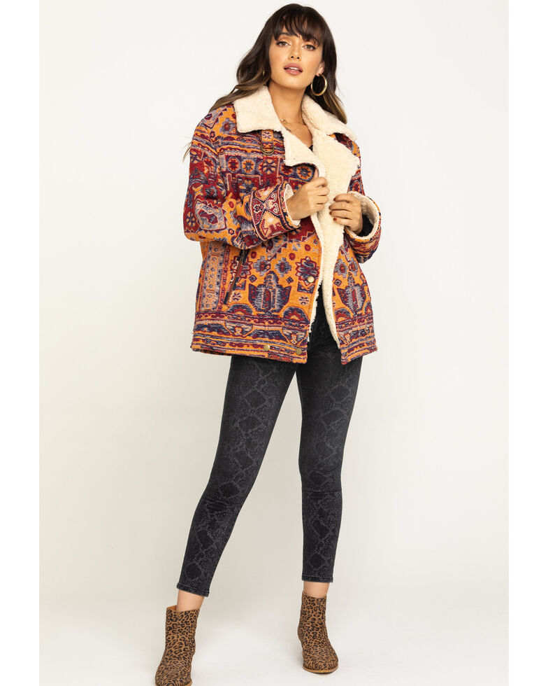 Free People Women's Star Valley Coat , Burgundy, hi-res