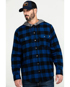 Hawx Men's Blue Monteta Plaid Hooded Long Sleeve Shirt Work Jacket - Tall , Blue, hi-res