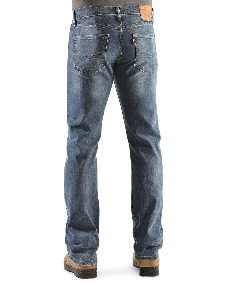 Levi's Men's 527 Black Stone Rinse Slim Bootcut Jeans , Dark Denim, hi-res