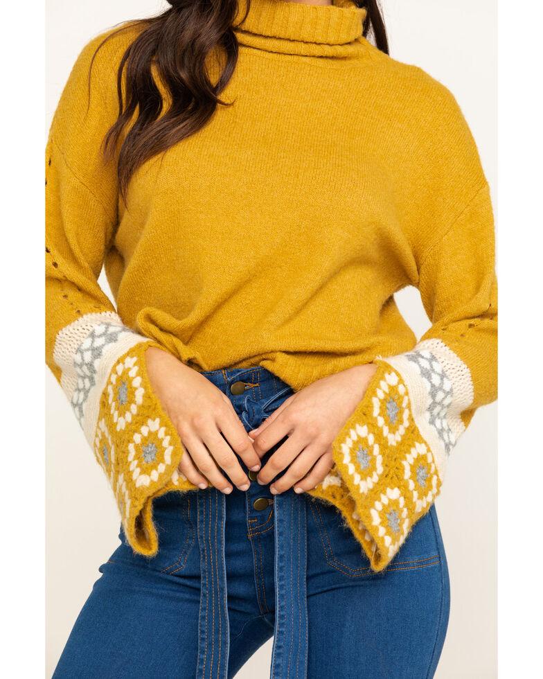 En Creme Women's Mustard Turtleneck Patchwork Sweater , Dark Yellow, hi-res