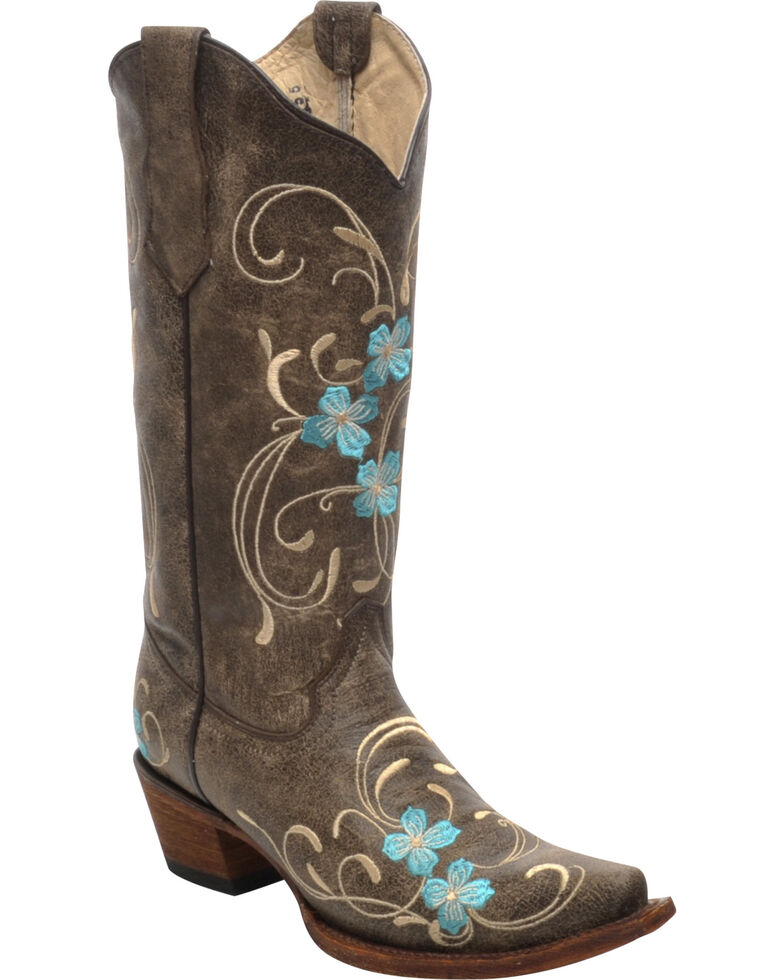 Corral Women's Cowhide Floral Western Boots, Brown, hi-res
