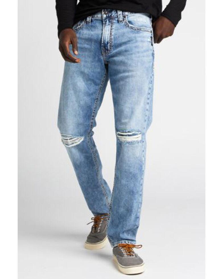 Silver Men's Eddie Light Indigo Stretch Relaxed Tapered Jeans , Indigo, hi-res